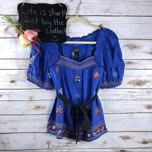 Anthropologie Lithe floral embroidered silk top